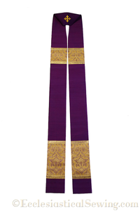 Clergy Stoles Style #1 in the St. Gregory the Great Collection | Priest Stoles - Violet