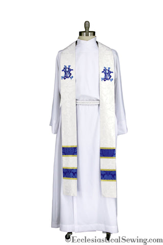 Deacon or Priest Stole for Clergy | Blessed Virgin Mary Embroidery
