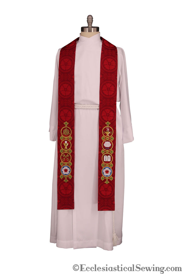 Reformation Stole | Lutheran Clergy Stole | Luther Rose Brocade (Style 3)