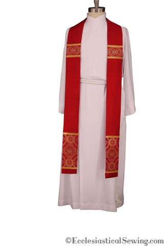Silk Dupioni Clergy and Deacon Stoles in Red, Green and Violet