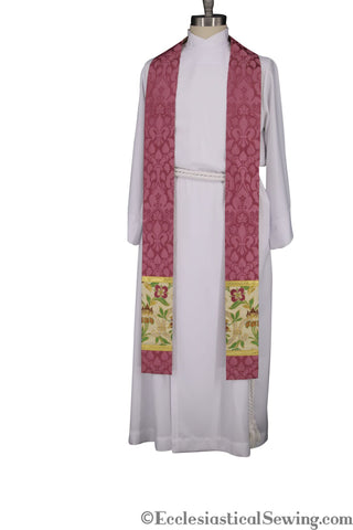 Bishop Cyprian Brocade and Tapestry Priest Stole or Deacon Stole