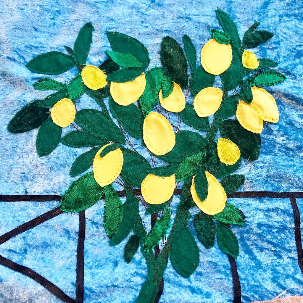 Lemon Tree Textile Art, Jackie Gale Textile Art In Progress