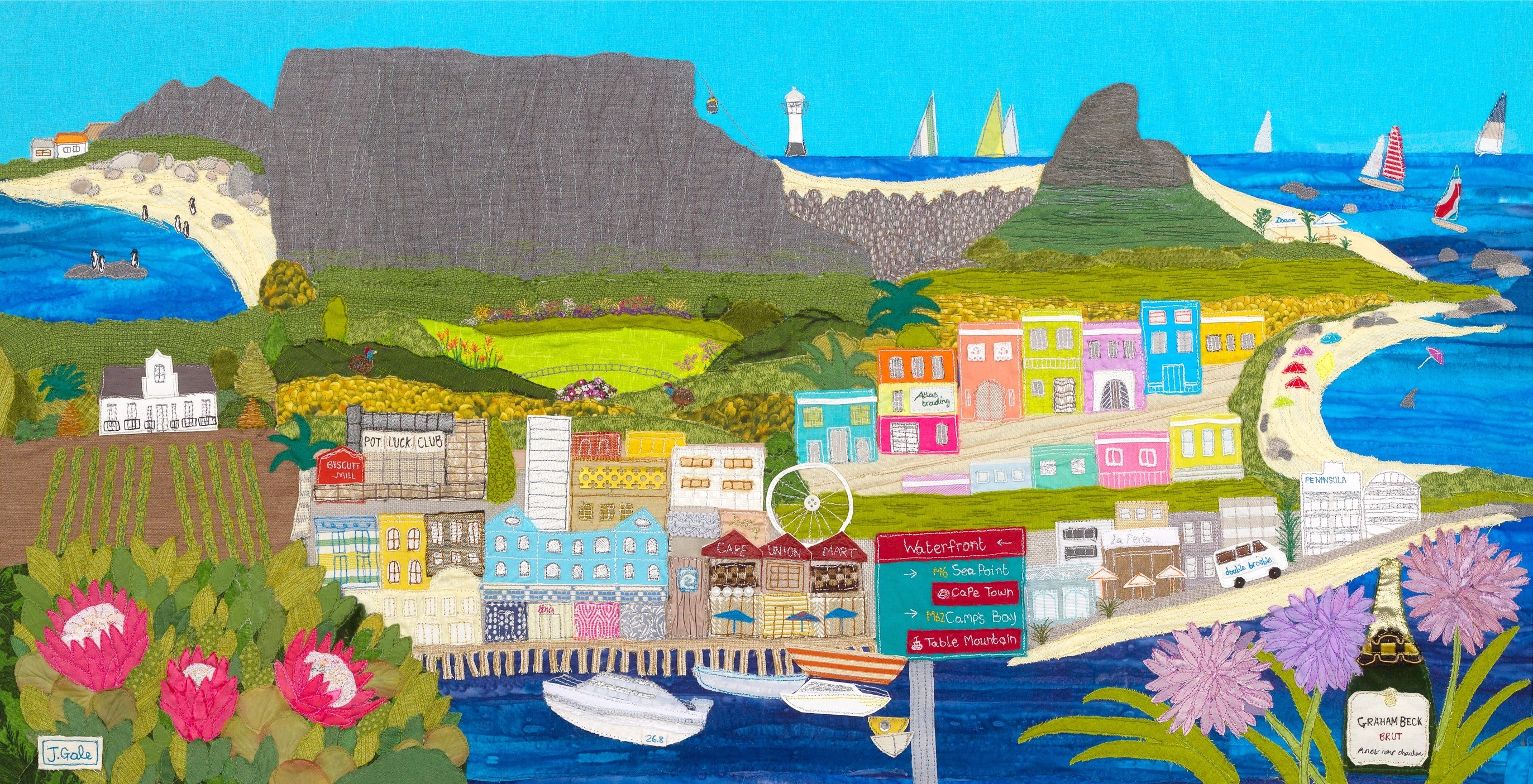 Cape Town By Jackie Gale Textile Art