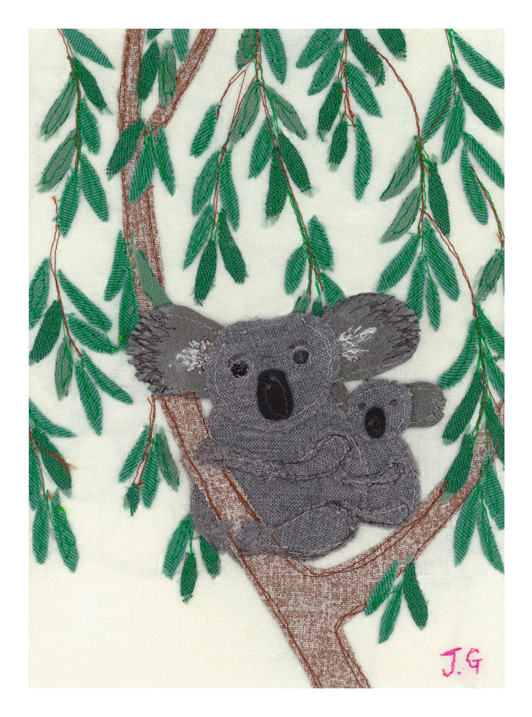 Koala Textile Art Print By Jackie Gale