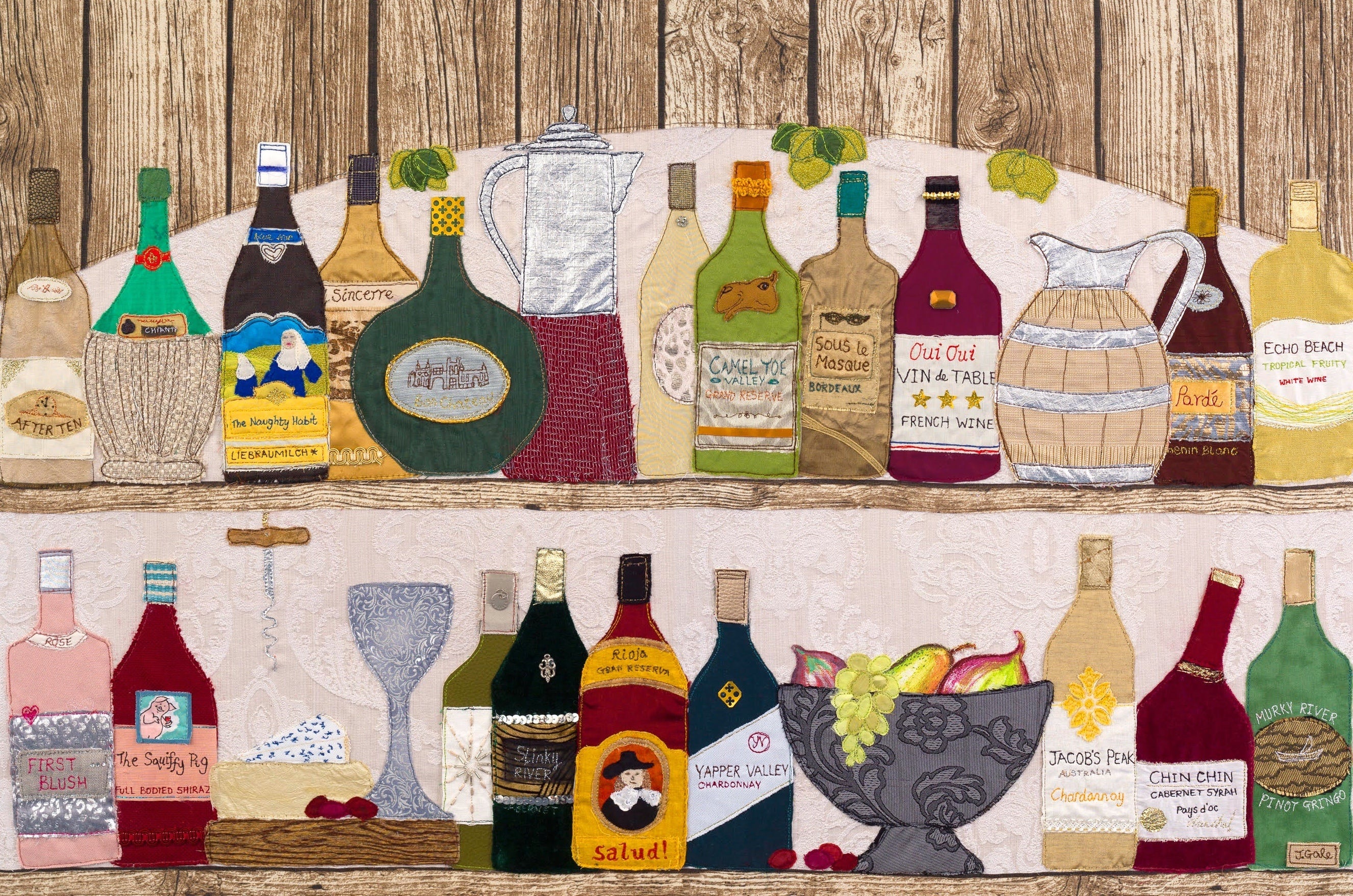 Time To Wine - Drinks Cabinet Art By Jackie Gale, Textile Artist