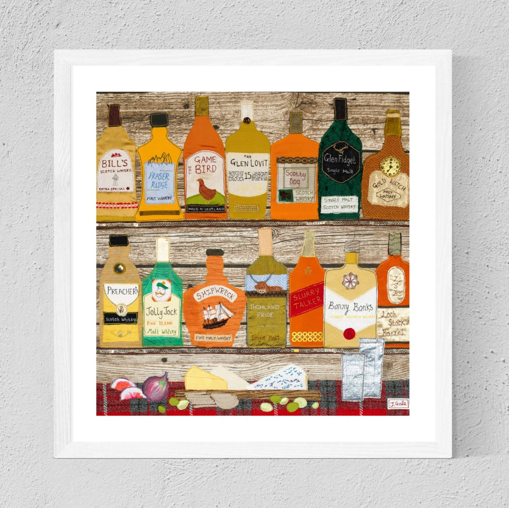 Framed Whisky Textile Art By Jackie Gale