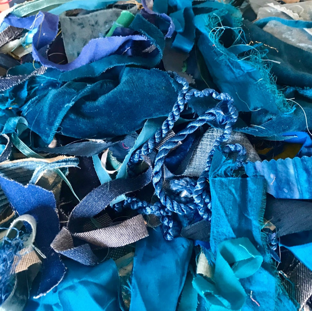 Blue Fabric Art Materials - Jackie Gale Artist