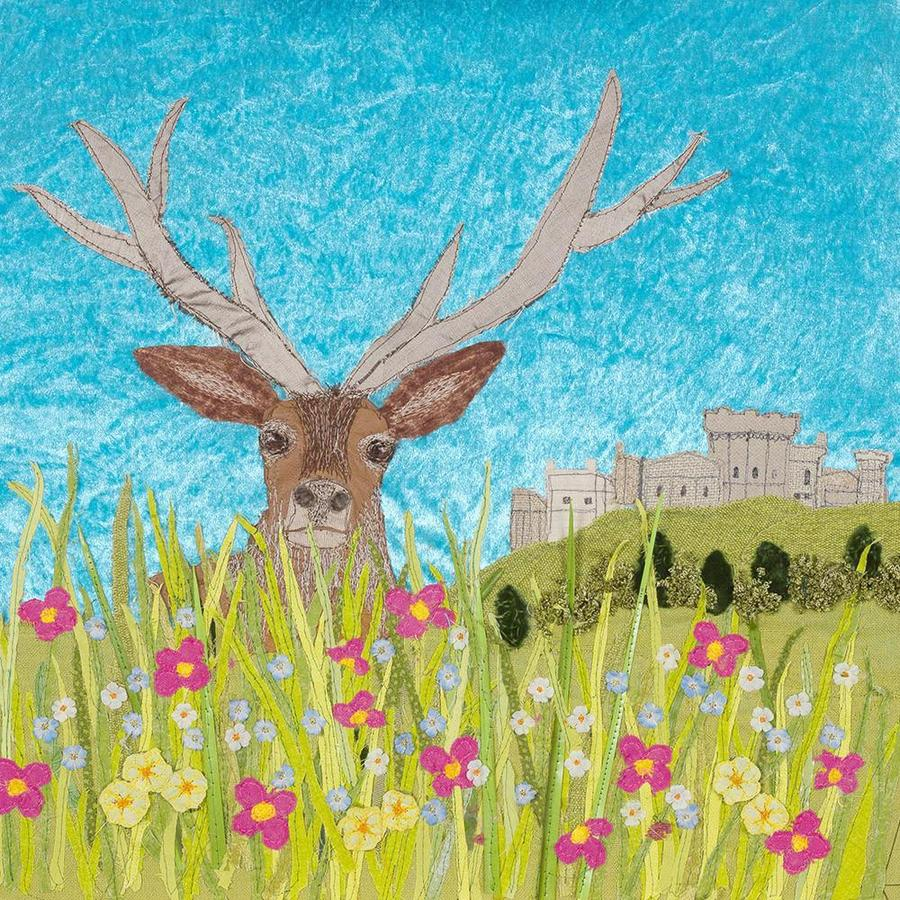 Henry The Stag - Contemporary Textile Art Print by Jackie Gale, Devon Artist
