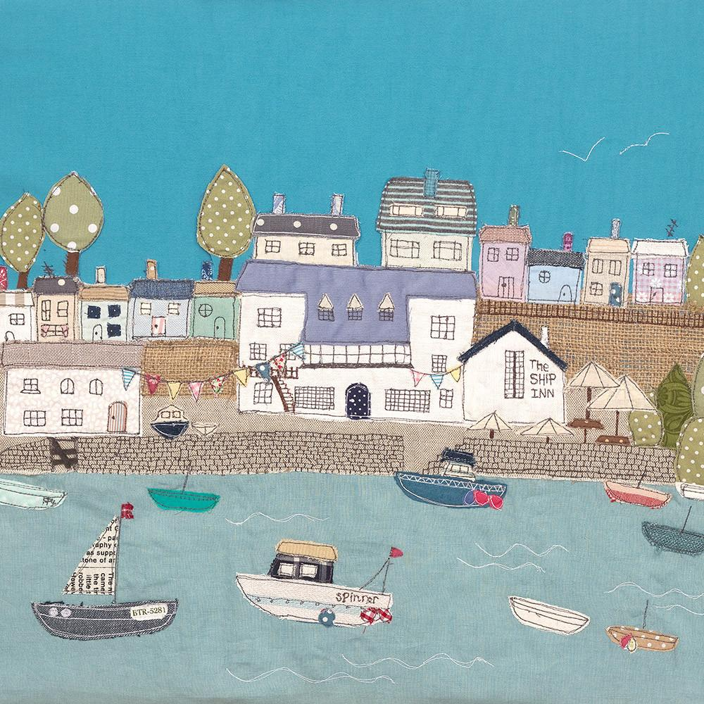 The Ship inn Noss Mayo By Jackie Gale Textile Art