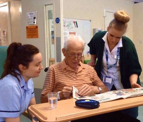 Staff and patient at St Luke's, Plymouth