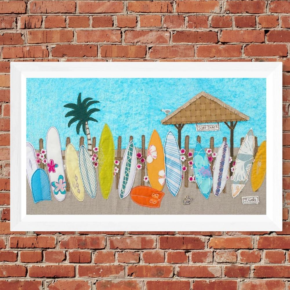 Waiting For A Wave - Surfing Textile Art Print By Jackie Gale