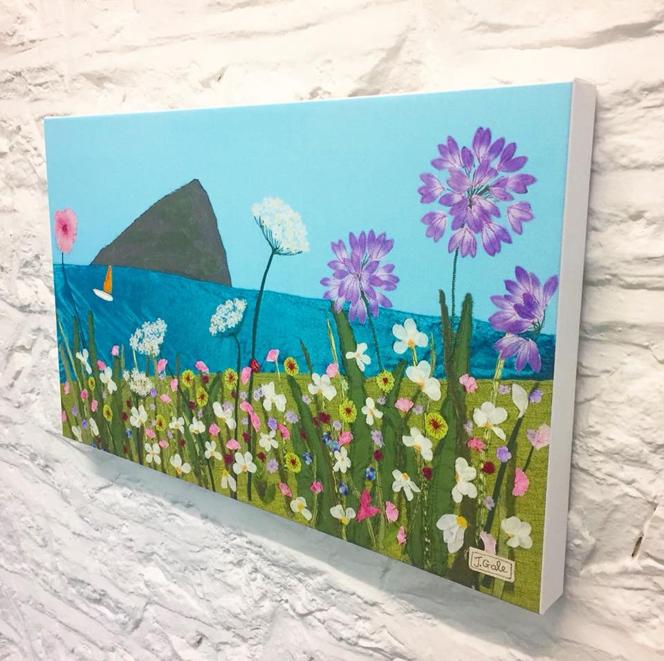 Wembury Canvas Art Print By Jackie Gale, Textile Artist