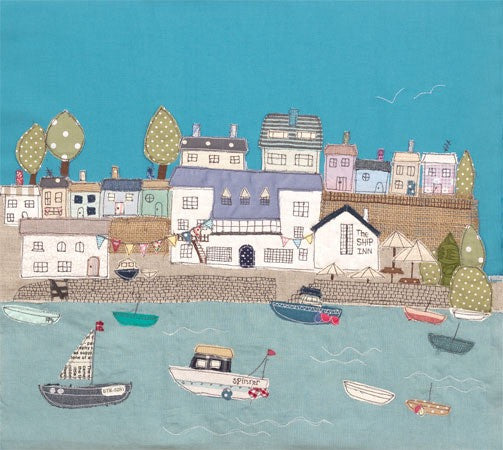 The Ship Inn pub in Noss Mayo, Devon - by textile artist Jackie Gale