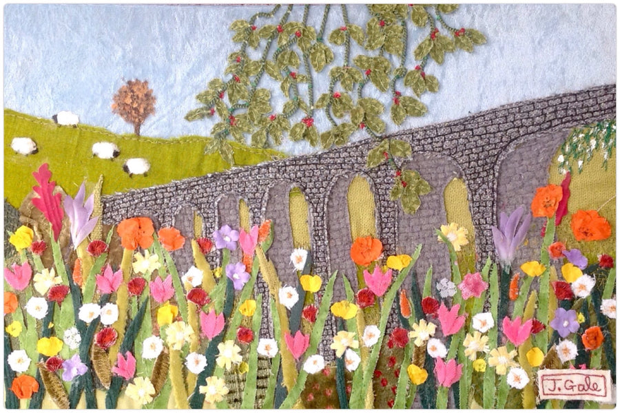 Sheep with the best view - by textile artist Jackie Gale