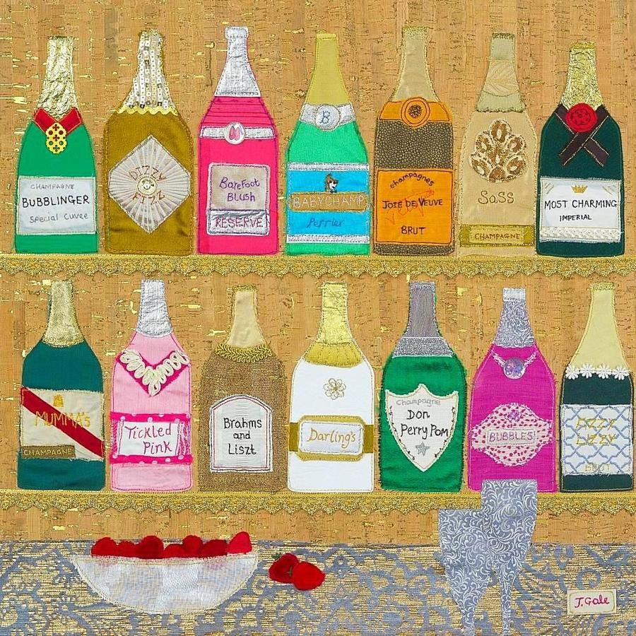 Champagne Artwork By Textile Artist Jackie Gale