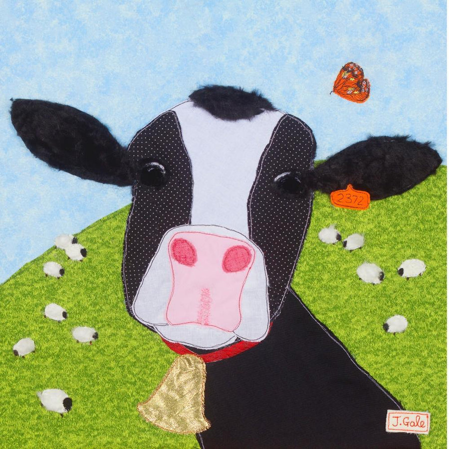 Matilda The Cow - Art Print - Limited Edition - Textile Artist, Jackie Gale