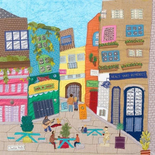 Neal's Yard, Covent Garden - Original Art by Jackie Gale, Textile Artist