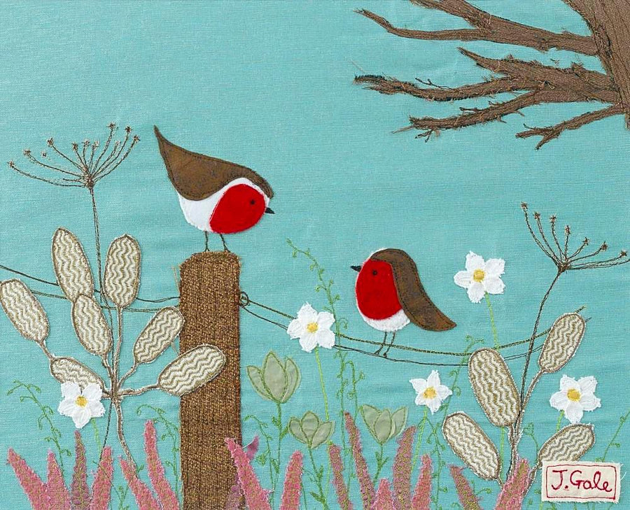 Robins Picture - Limited Edition Art by Jackie Gale, Textile Artist