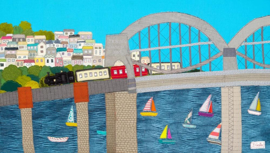 Brunel Bridge - Steam Train Textile Art - Brunel Bridge - Jackie Gale