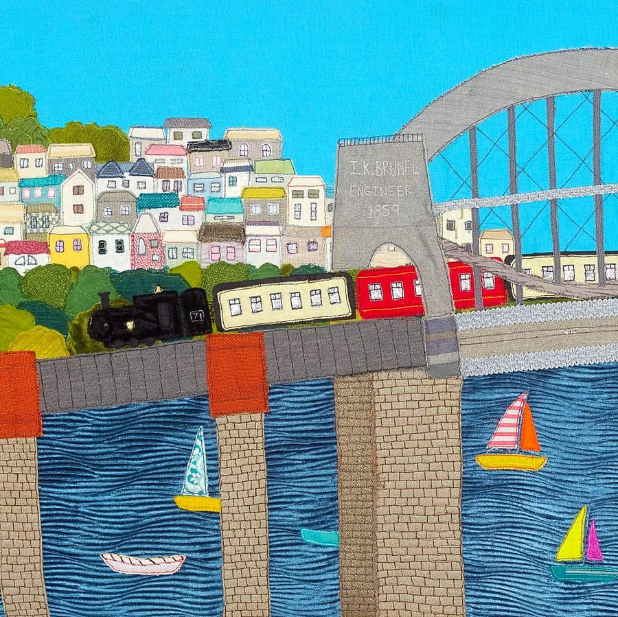 Brunel Bridge Textile Artwork, Steam Train, Saltash, Cornwall