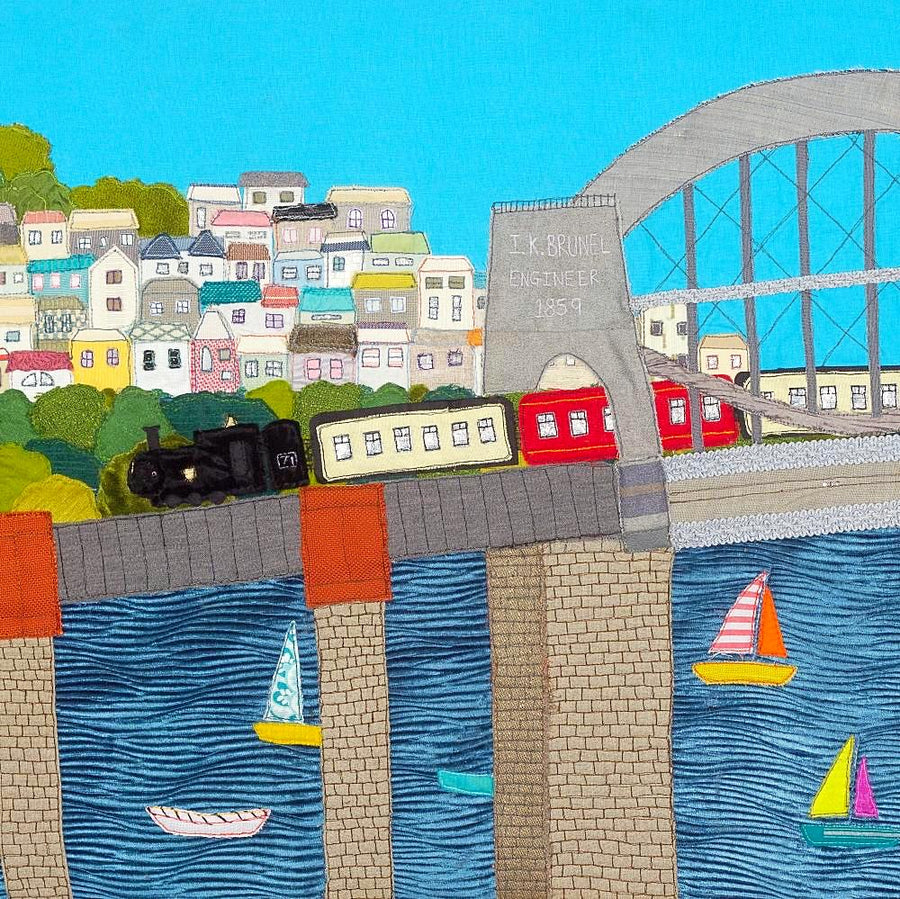 Starlight Express - Steam Train on Brunel Bridge - Original Textile Art by Jackie Gale