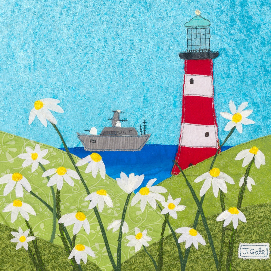 Plymouth Lighthouse - Out To Sea by Jackie Gale