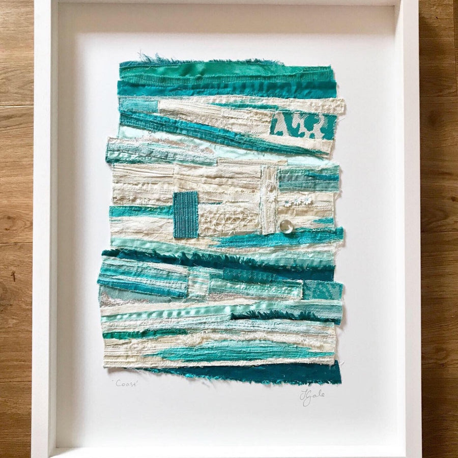 Framed Original Abstract Art - Textile Art - Beach - Coast