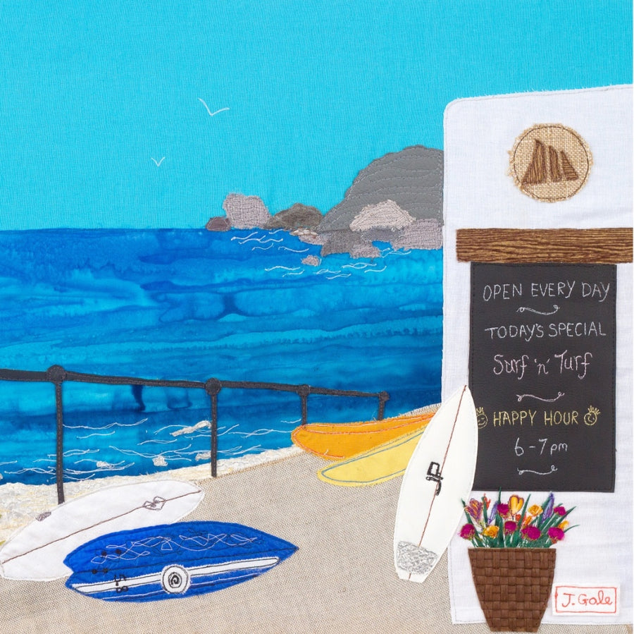 St Agnes, Cornwall - Section of Textile Art Print - Jackie Gale