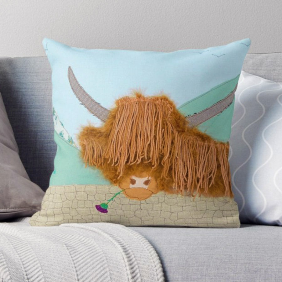 Highland Cow Cushion Designed By Jackie Gale, Textile Artist
