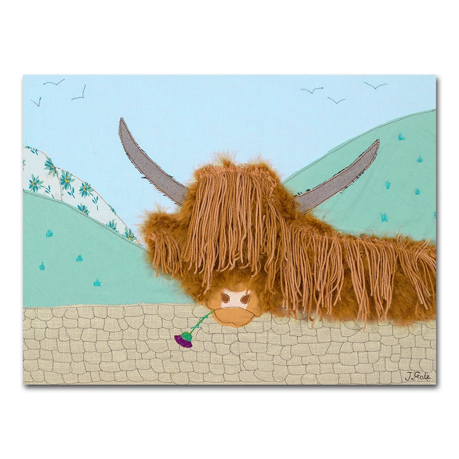 Angus - Highland Cow - Textile Art Print Picture