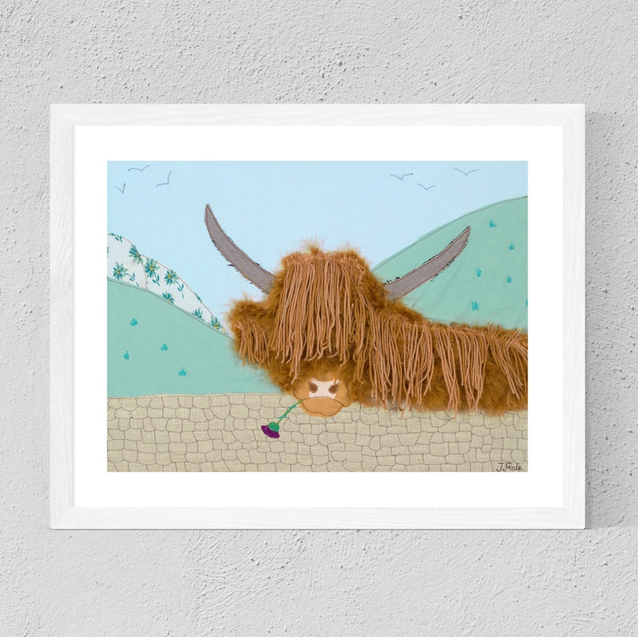 Angus - Highland Cow, Scotland - Textile Artwork
