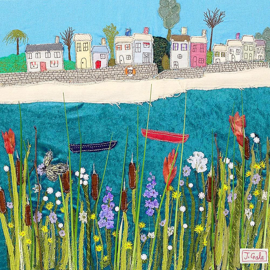 Picture of seaside cottages with wild flowers and boats - art by Jackie Gale