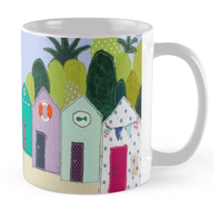 Beach Hut Ceramic Mug by Jackie Gale, Textile Artist