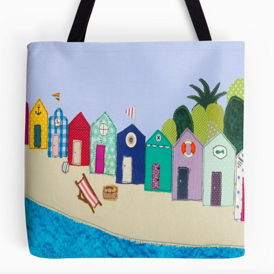 Beach Hut Bag by Jackie Gale, Textile Artist, Devon