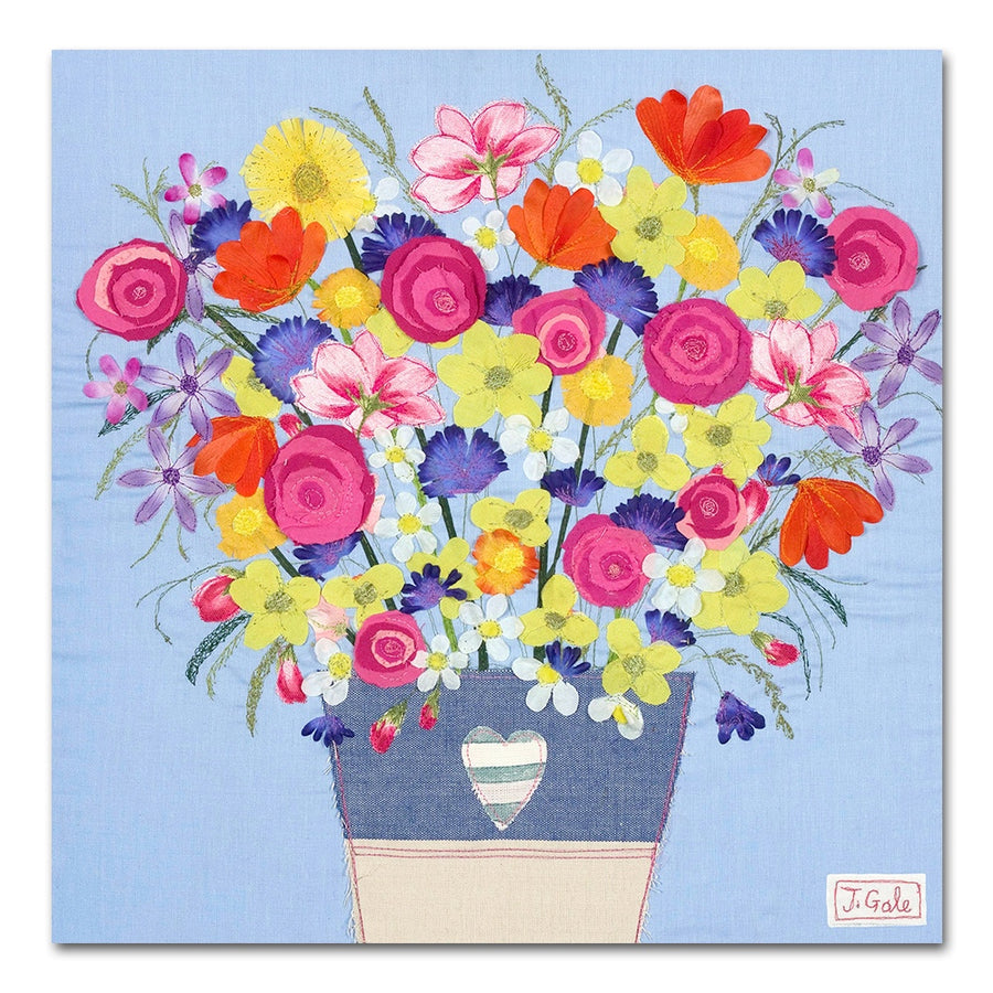 Flower Bouquet - Floral Textile Art Print Picture - Limited Edition