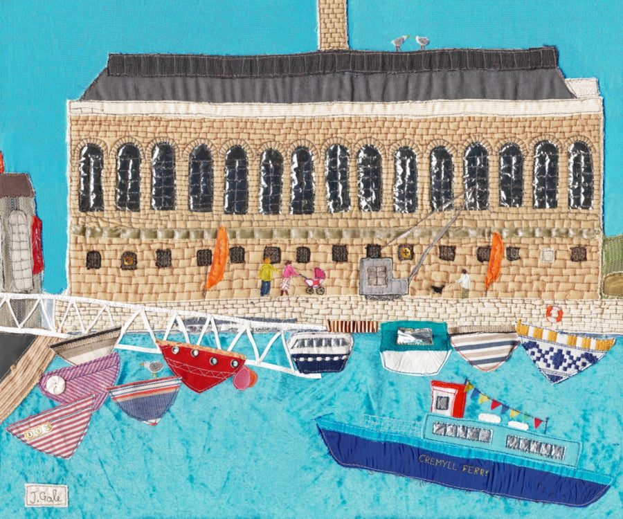 Plymouth Royal William Yard - Textile Art by Jackie Gale
