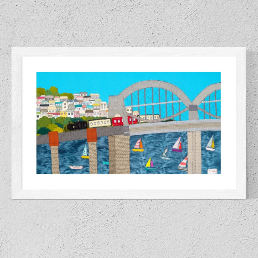 Brunel Bridge - Cornwall. Textile Artwork by Devon Artist, Jackie Gale