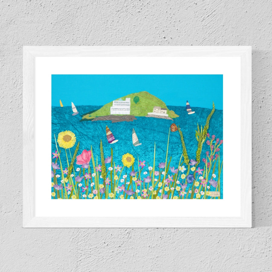 Burgh Island Flowers - Framed Textile Art Print - South Hams - Devon