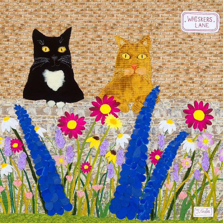 Cats - Original Textile Artwork by Jackie Gale, Devon Artist
