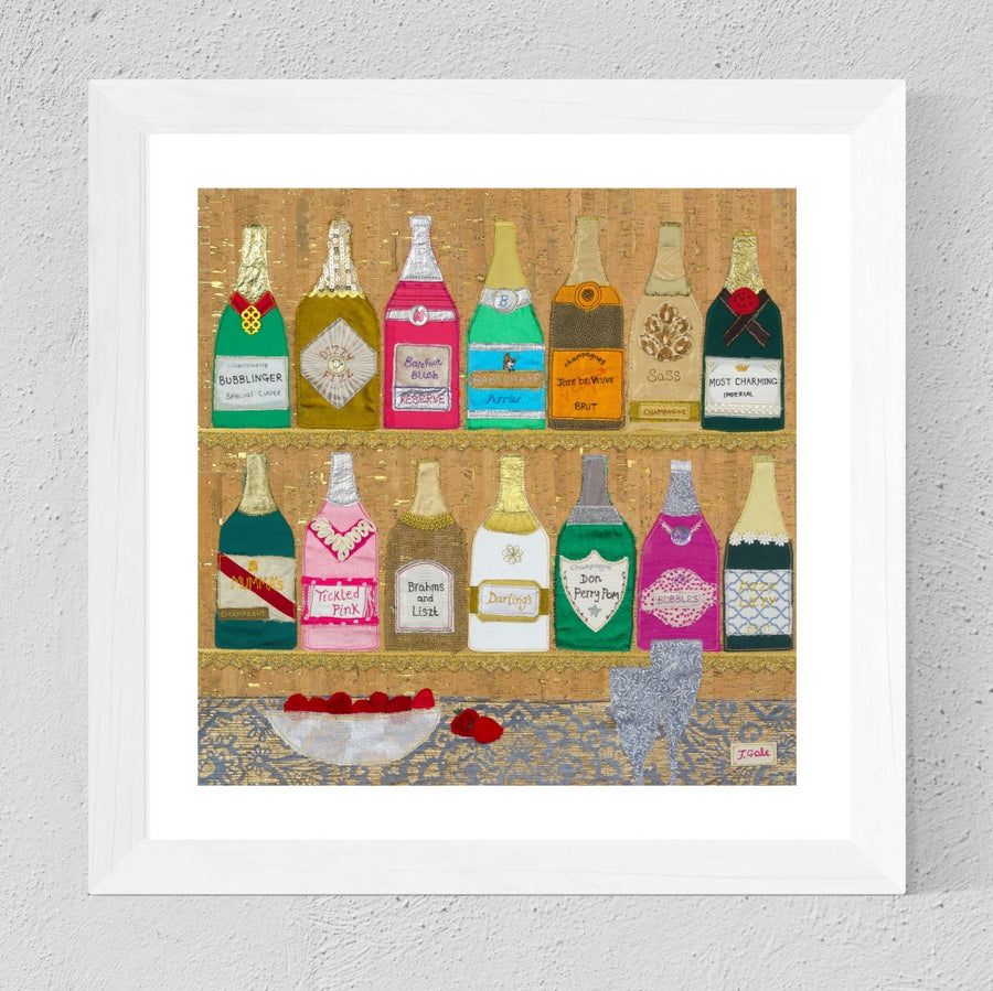 Champers By Jackie Gale, Textile Artist - Limited Edition Print
