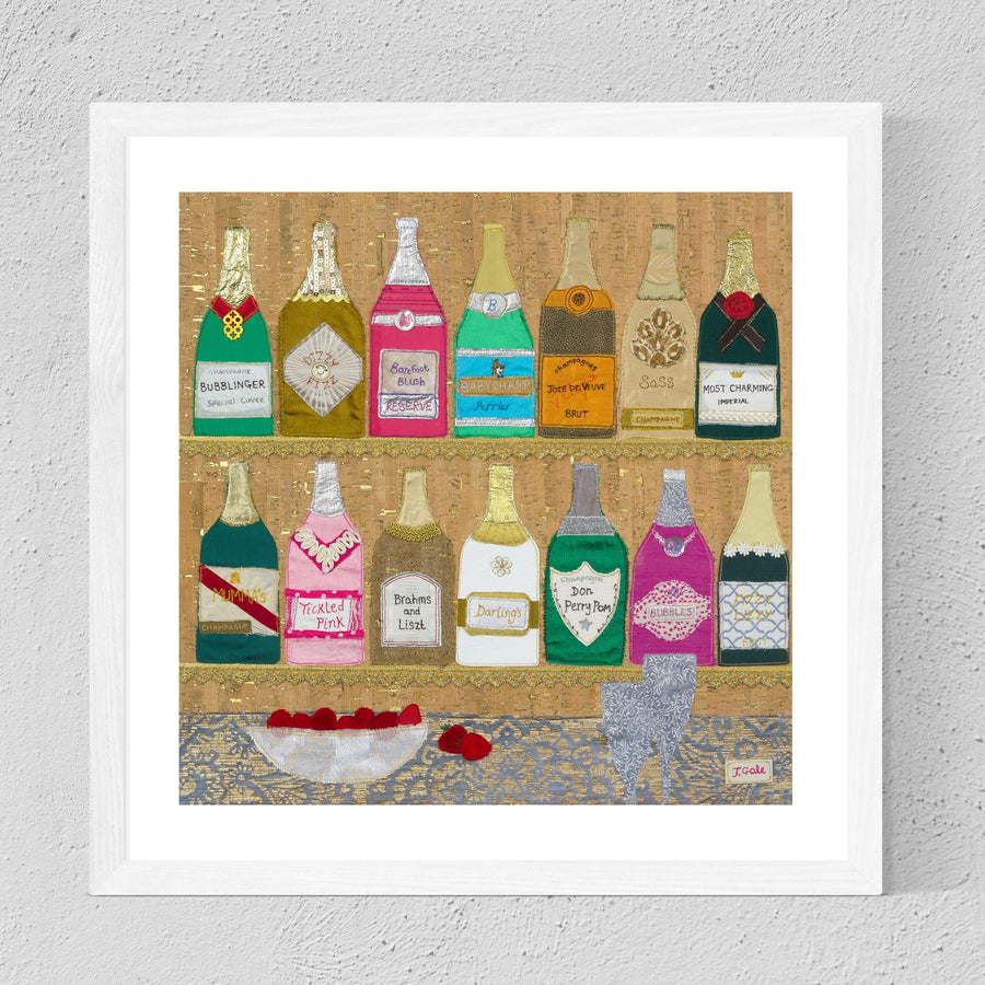 Champagne Original Textile Art By Jackie Gale