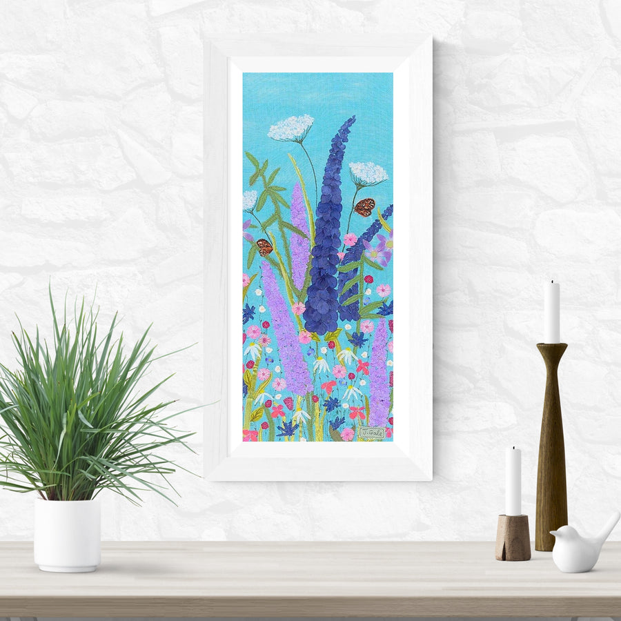 Delphiniums And Bamboo, Textile Art Print - Flutter By