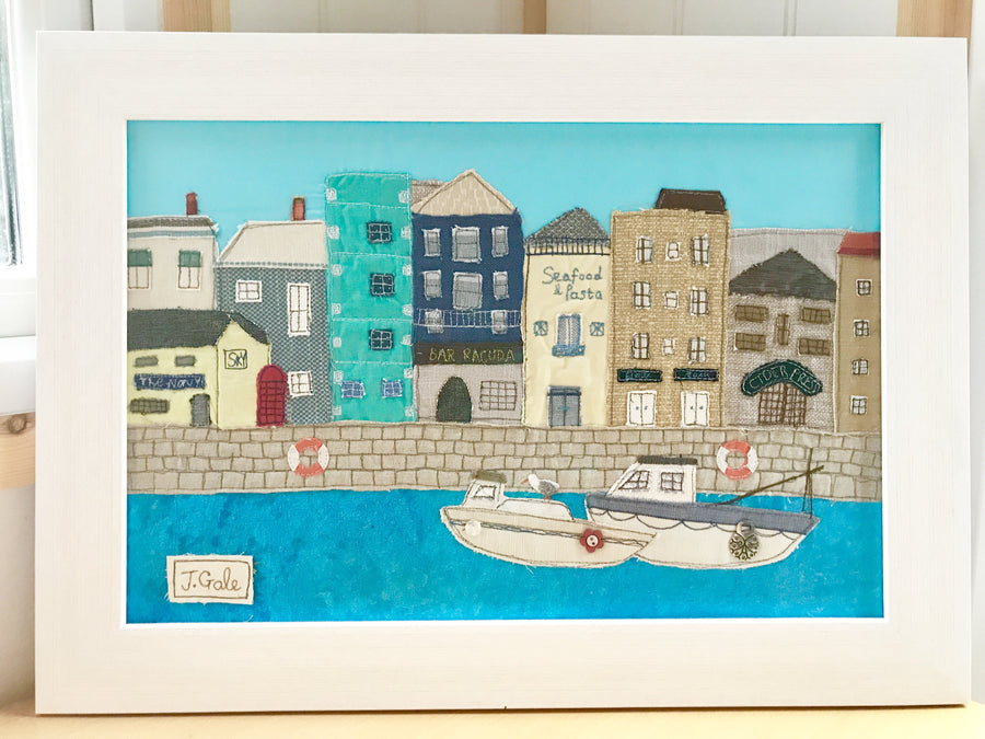 Plymouth Barbican - Boats And Boozers - Original Textile Art