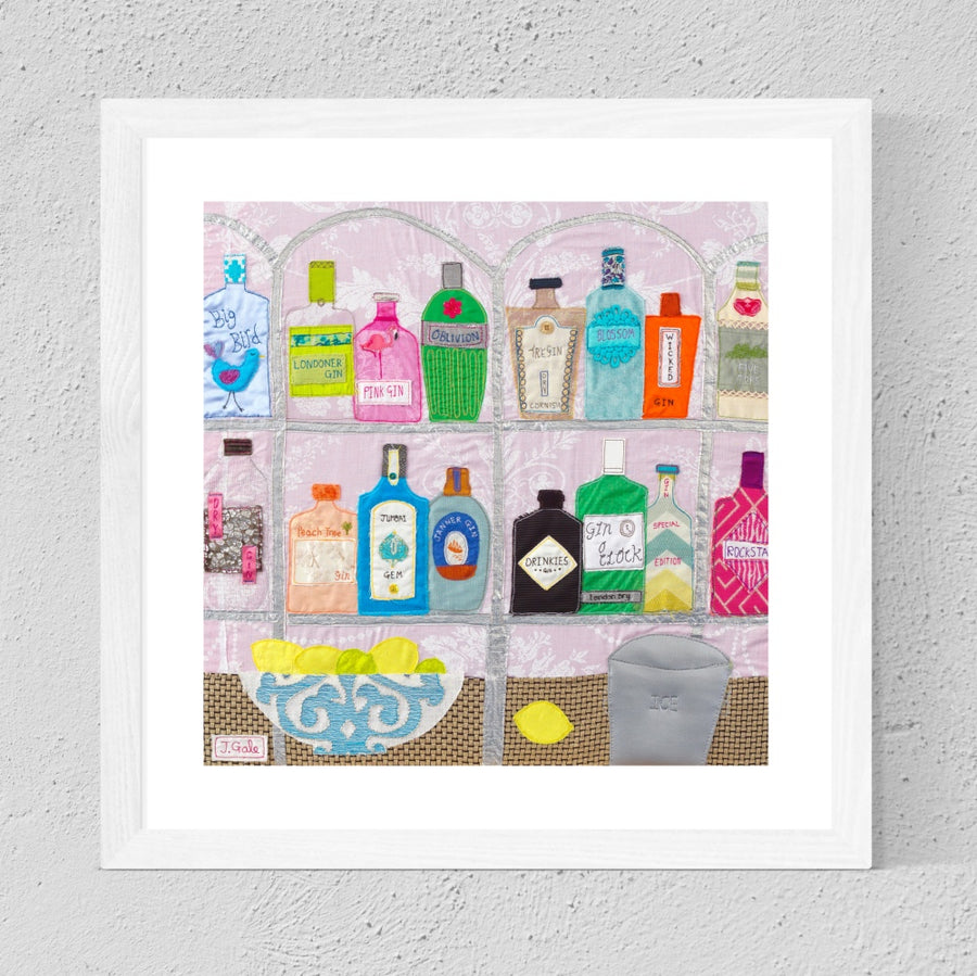 Gin Bottles, Framed Textile Art Print by Jackie Gale
