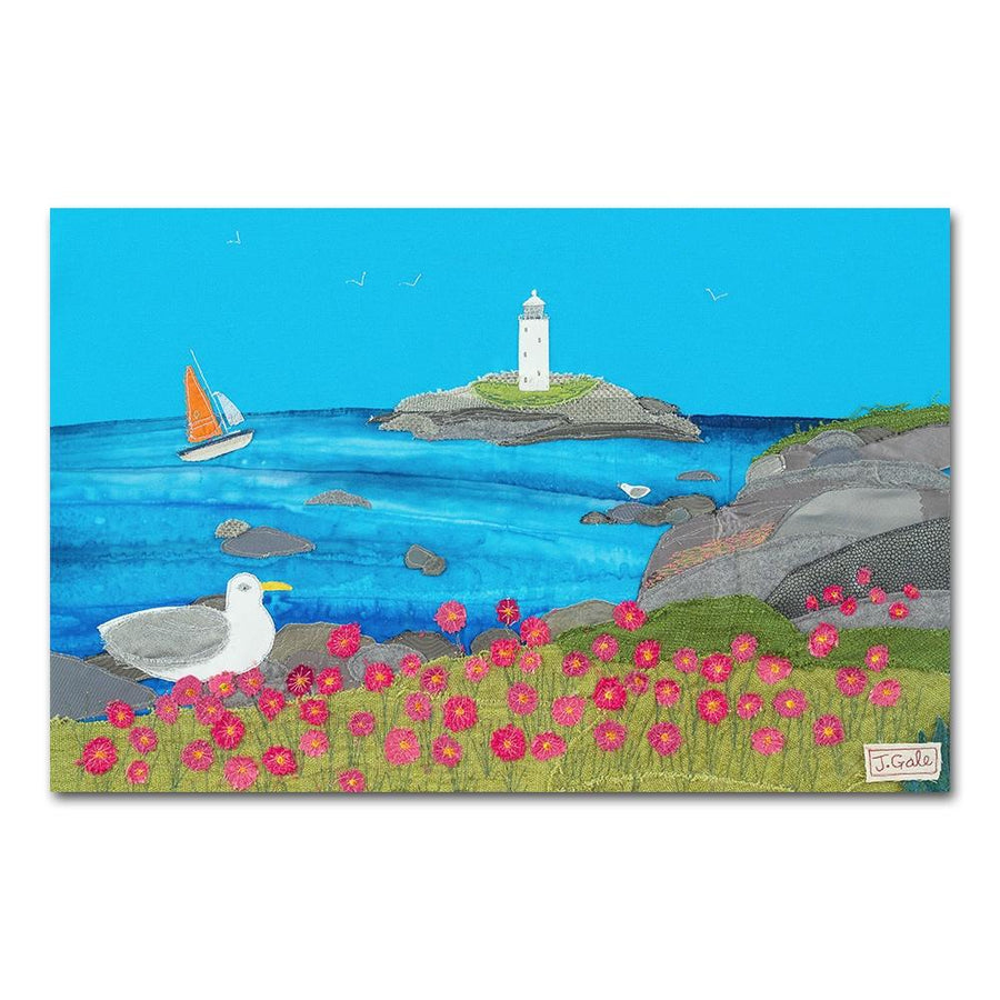 Godrevy Lighthouse - Cornwall - Textile Art Print (Limited Edition)