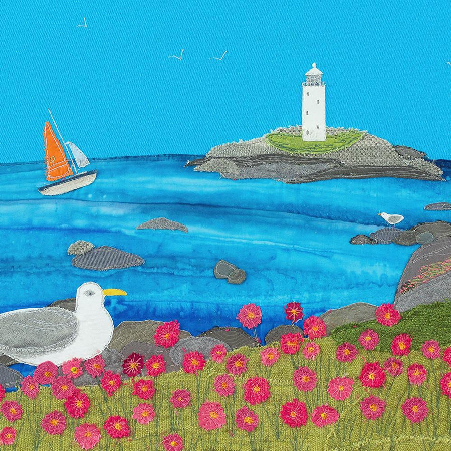 Godrevy Lighthouse, Gwithian, Cornwall - Textile Art