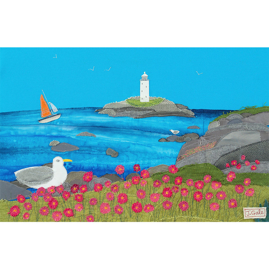 Godrevy Lighthouse - Cornwall - Textile Art by Jackie Gale. Limited Edition Print