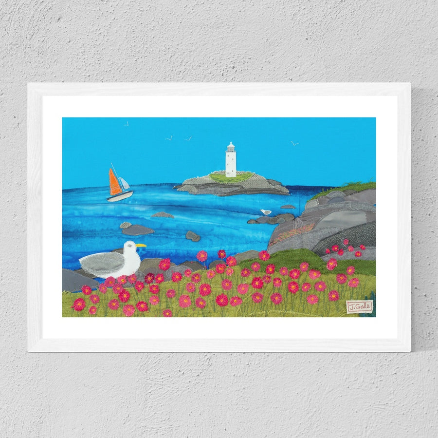 Godrevy Lighthouse - Framed Textile Art Print - Cornwall Limited Edition