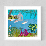 Framed Greek Island Print By Jackie Gale, Textile Artist