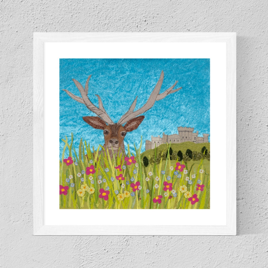 Red Deer, Stag - Textile Art Print, Limited Edition, Windsor Castle